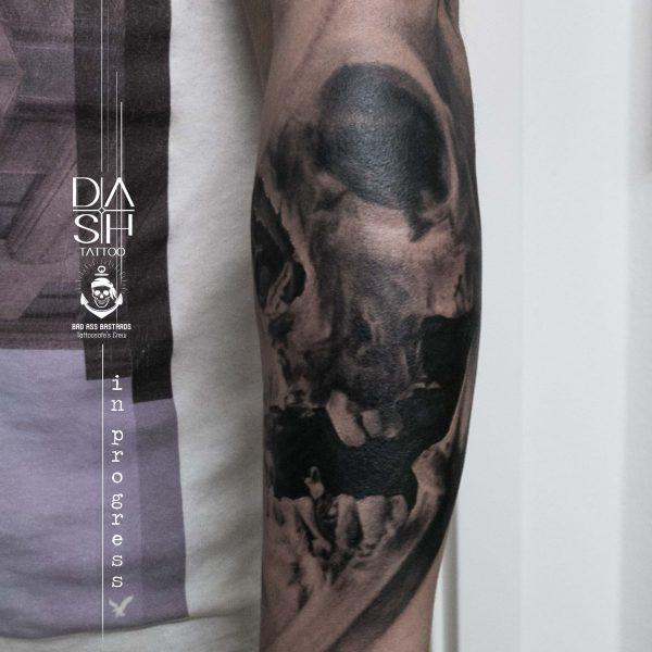 Realistic Skull Danny ShoeStar Wien Vienna Dash Tattoo